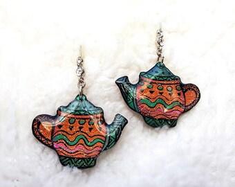 TEA EARRINGS DANGLE - Earrings Handmade,Teapot Jewelry,Teapot Earrings,Teacup Earrings,Resin Earrings,Colorful Earrings,Earrings Dangle
