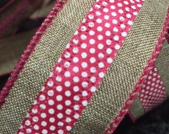 1 1/2 in x 23 ft wired edge Pink ribbon with white polka dots