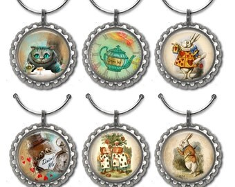 Alice in Wonderland Wine Charms, Hostess Gift, Wine Accessories, Wine Lover Gift, Co-Worker Gifts, Housewarming Gift, Cheshire Cat