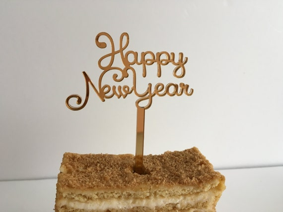 Happy New Year Small cake topper Food picks Personalized cupcake New year Gold ornament Holiday cake decoration Party favors New years eve