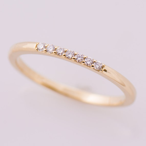 Thin Diamond Ring Seven Stones Ring 14K Yellow Gold Stacking