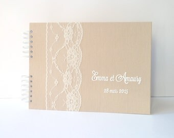Guestbook 150 snapshots and beige plus-lin and lace
