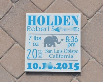 Customized Birth Announcement Wooden Sign With Elephant