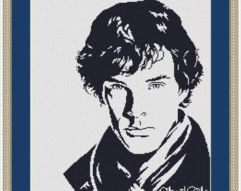 Cross Stitch Pattern Silhouette Sherlock Holmes superhero monochrome Counted Cross Stitch Pattern/Instant Download Epattern PDF File