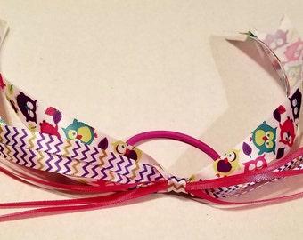 Pink & Purple Owl ribbon hair ties