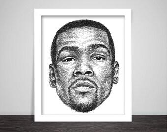 Scribbled Kevin Durant - Poster