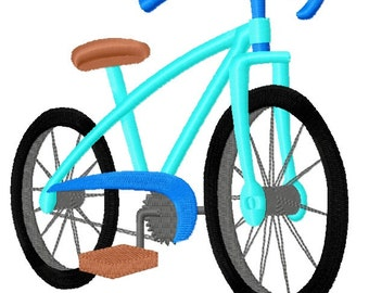 Bicycle Blue Fill Embroidery Design file  Instant Download