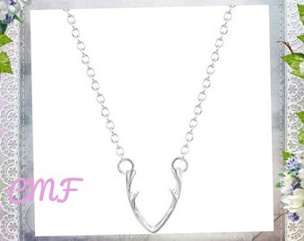 Antler Necklace 925 Sterling Silver Necklace Antler Pendant Deer Necklace Deer Pendant