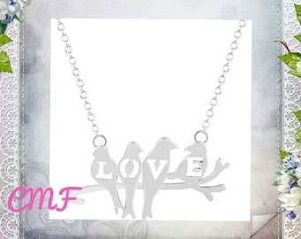 Love Bird Necklace 925 Sterling Silver Necklace Bird Pendant Pearl Necklace Bird Necklace