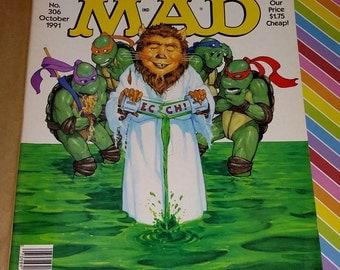 Vintage 1991 Mad Magazine Teenage Mutant Ninja Turtles Cover # 306
