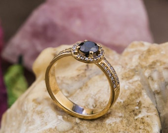 18K Yellow Gold Engagement Ring with Natural Black Diamond and White  Diamonds, Black and White Diamonds Promise Ring, Zehava Jewelry