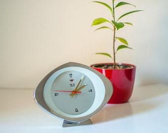 Vintage Clock, Mechanical Chinese Hero Clock,Table clock, Vintage desk clock, Winding Clock, Retro Glass Alarm Clock, Vintage Analogue Clock
