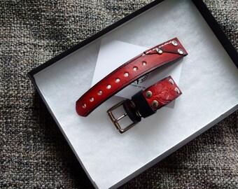 Watch Leather strap 'Burgundy'