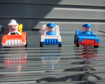 Vintage Fisher Price Little People Fire/Mail/Police