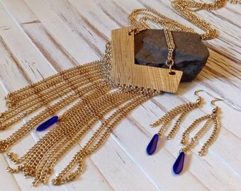 Gold Chevron Necklace and Earrings W/ Chain Fringe and Blue Glass Beads //Necklace Earring Set //Geometric Necklace// OOAK Fringe Necklace