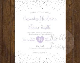Classic Wedding Invitation, Elegant Wedding Invitation, Silver Wedding Invitation, Wedding Invite, Modern Wedding Invitation