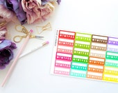 Rainbow Daily Habits Half Boxes -- Matte Planner Stickers