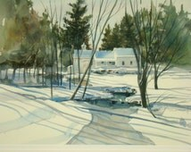 Original Watercolor James City South Deerfield NH  Snow Landscape New England Scenes