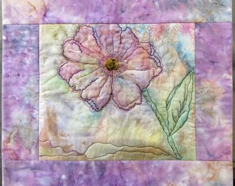 "Fabric Art Quilt, Watercolor on Fabric, Flower Art Quilt, Quilted Wall Hanging, Home Decor, Gift For Her, 15"" x 15"""