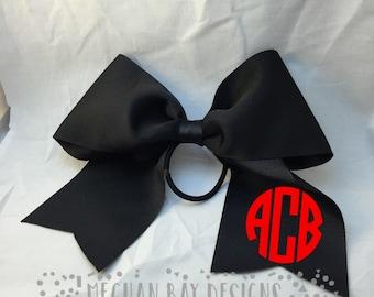 Monogrammed Cheer Bow--Black