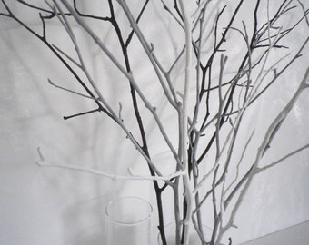 Home decor branches, tree branches, woodland home decor,  modern minimalist decor, 7 painted  branches,  white grey black  decorative twigs