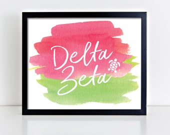 DZ Delta Zeta Watercolor Script Ready To Frame Poster