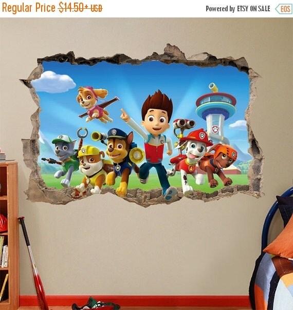 on sale paw patrol 3d wall sticker smashed bedroom kids decor. Black Bedroom Furniture Sets. Home Design Ideas