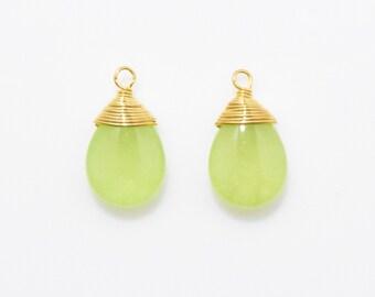 Green Jade Teardrop Pendant . Tiny Teardrop Gemstone . Coil Bezel . 16K Polished Gold Plated over Brass - 2pcs / NB0001-PGGR