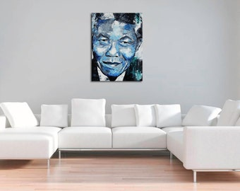 """Nelson Mandela, Original Painting, 40"""",30"""" Various Sizes, Blue, Canvas, Art, Abstract, Worldwide Shipping, Richard Day"""