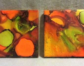 Hand Painted Earth Tones Green, Golden Yellow and Brown Ceramic Coasters