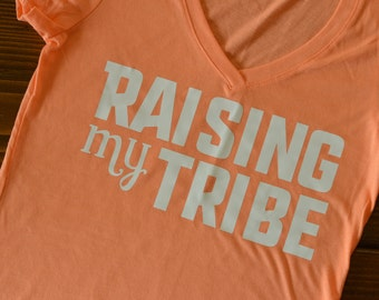 Raising My Tribe Coral V-Neck, size SMALL