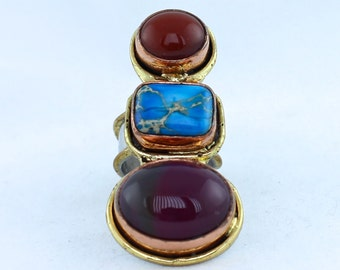 Triple Stone Long Finger Statement Adjustable Ring with Turquoise and Agate