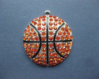 Large Basketball Charm - Basketball Pendant - Sports Charm - Basketball - Antique Silver and Rhinestones - 44mm x 39mm -- (No.107-12055)