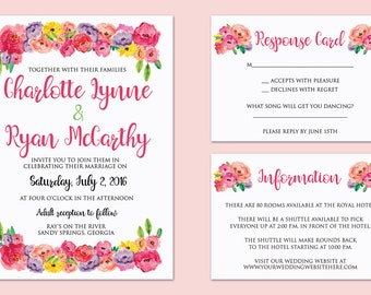Printable Floral Wedding Invitation, Wedding Invites, Wedding Invitation Suite, Wedding Invitation Set, Floral Wedding Invitation