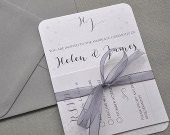 Silver Grey Winter Wedding Invitation, Silver Pearlised Paper, Grey Ribbon, White wedding Grey wedding, Optional DIY Invitation Kit