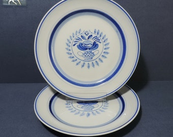 """Arabia Finland Blue Rose 7.625"""" Salad Plates Set of 2  Vintage Replacement China Handpainted circa 1960-1970 Initialed Backmark Scandanavian"""