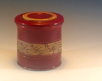Red French Butter Dish -  French Butter Keeper - Covered Butter Dish - Butter Crock - Handmade - Ready To Ship