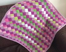 Mini squares Tunisian crochet baby blanket entrelac pram stroller crib cot blanket pink and green warm and squishy newborn colourful modern