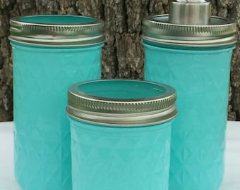 3-Piece Turquoise Mason Jar Bathroom Set