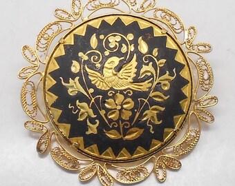 Vintage Filigree Damascene Brooch