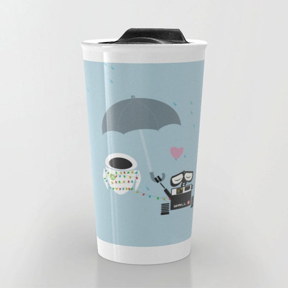 Items similar to walle and eve under the umbrella travel mug on etsy - Walle and eve mugs ...