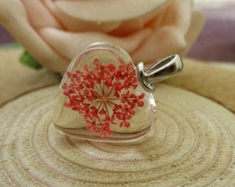 1Pcs 20mmx20mm Heart Charm Lace Flower(Red Color) Glass Pendant-BT041-3