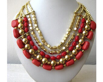 Statement Necklace/Red and Golden Necklace/Bohemian Necklace/Chunky Necklace/Bib Necklace/Beaded Necklace/Beaded Jewelry