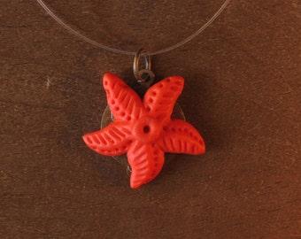 Orange Starfish pendant - orange Starfish Pendant