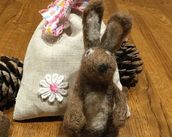 Needle felted hare with hand crafted lined linen gift bag