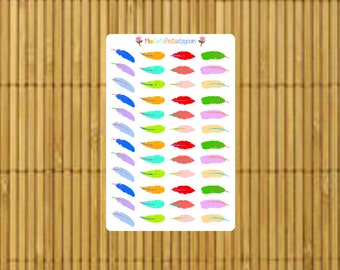 S062 - 48 Glossy Multi-Color Feather Planner Stickers