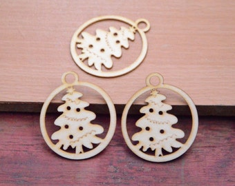 20 wooden earring wood tree pendant finding,wooden christmas tree charms,natural earring,unfinished round wood earring