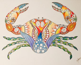 Zentangle crab,crab art,marine art,zentangle art,colored zentangle,ink colored pencils,wall art,wall decor