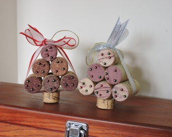 Wine-cork Xmas tree decorations