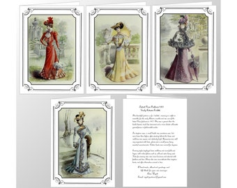 Pack of Four Handmade Blank Note Cards featuring Paris Fashion Plates from 1877 of the  Four Seasons
